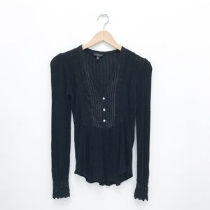 Lucky Brand Black Henley V Neck W/ Lace Details